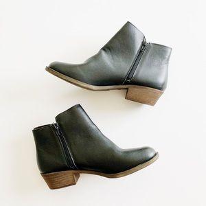 Kensie GHITA Black Leather Zip Booties Size 10